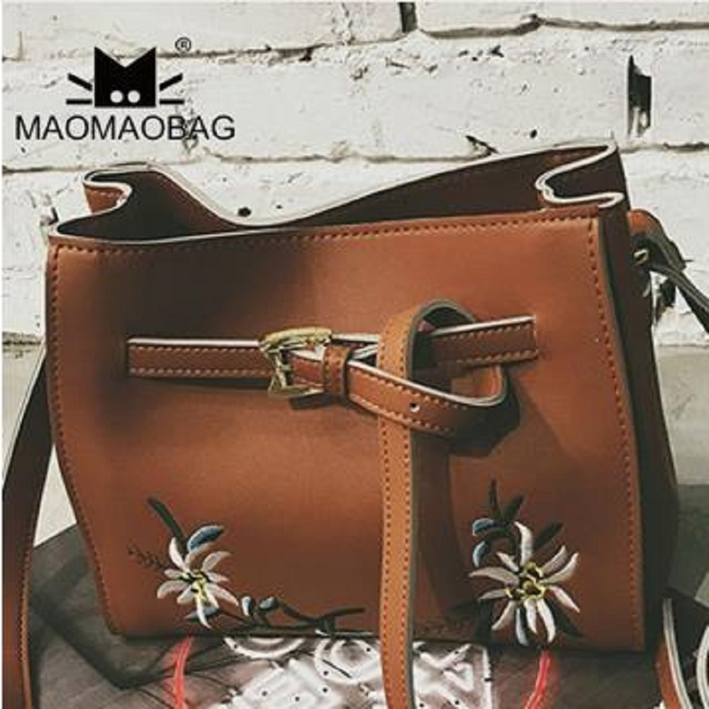 MaoMaoBag-繡花復古時尚小包-棕