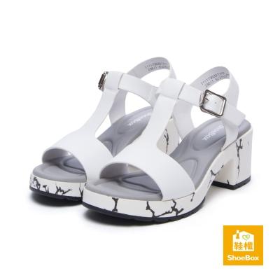 達芙妮DAPHNE ShoeBox系列 涼鞋-簡約T字繞踝高跟防水台涼鞋-白