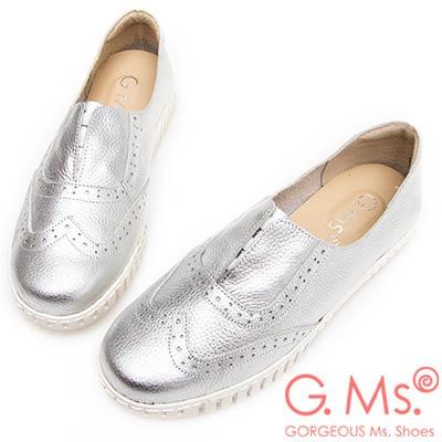 G.Ms. MIT系列-馬卡龍色系牛津免綁帶牛皮白底休閒鞋-銀色