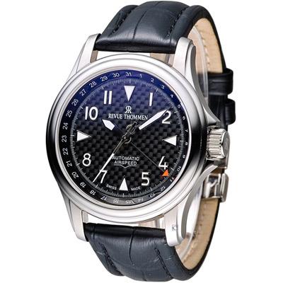 梭曼 REVUE THOMMEN AIRSPEED系列機械腕錶-黑色/44mm