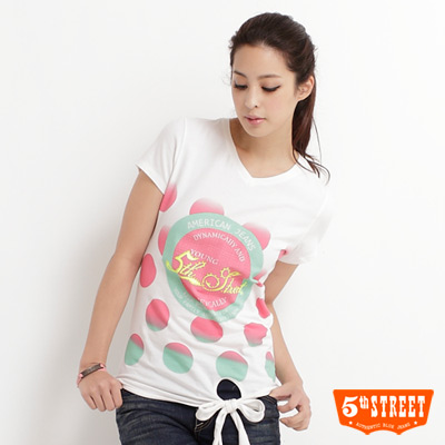 5th-STREET-活力滿點-漸層泡泡綁帶T恤-女款-米色