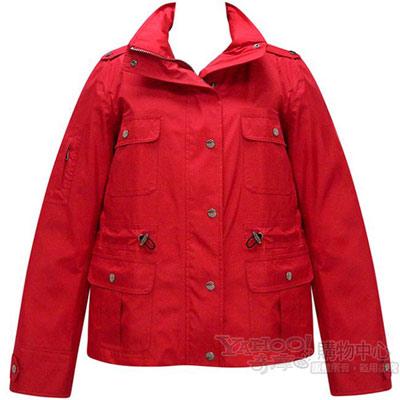 BURBERRY 英倫紅色單排釦短版風衣外套【L號】