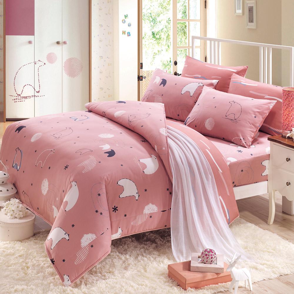 鴻宇HongYew 100%美國棉 防蹣抗菌-小白熊 粉 單人三件式薄被套床包組