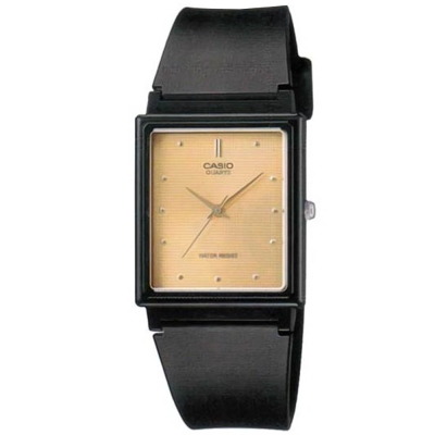 CASIO 簡單經典復古長方款指針錶-黑(MQ-38-9)黃面/25mm