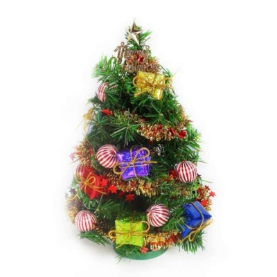 台製迷你1尺-30cm-裝飾綠色聖誕樹-糖果禮物盒