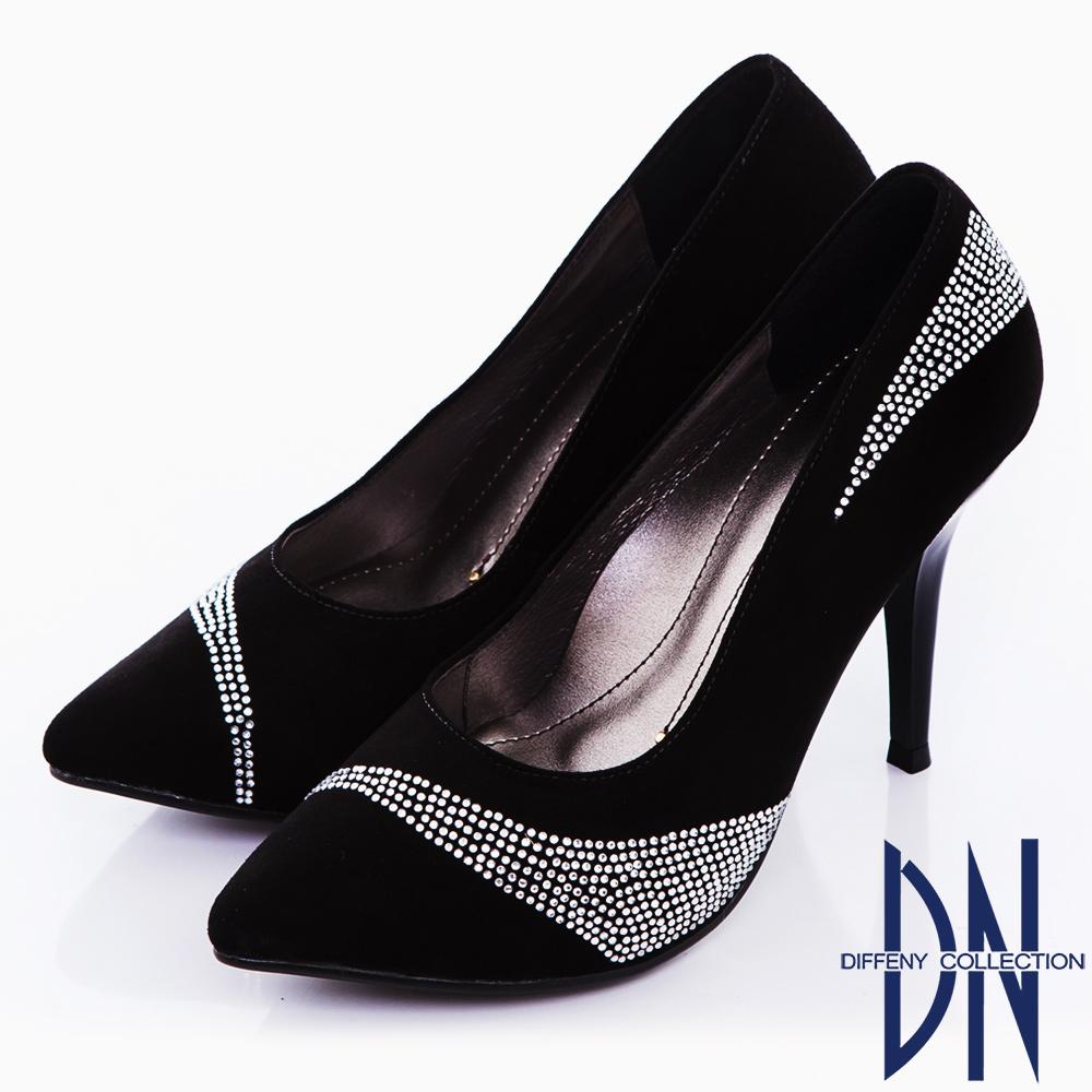 DN 玩美性感 流線水鑽羊麂皮尖頭高跟鞋 黑