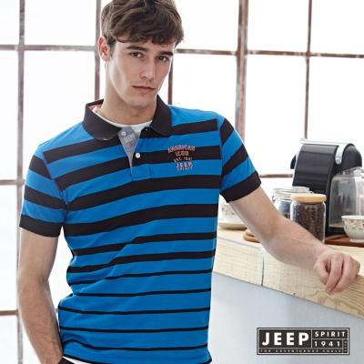 JEEP 簡單俐落美式條紋短袖POLO衫 藍色 (合身版)