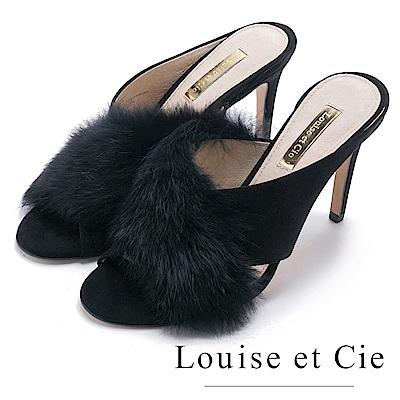 Louise et Cie 優雅兔毛交叉高跟涼拖鞋-黑色