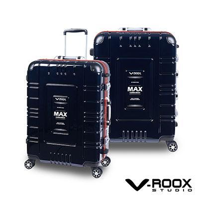 V-ROOX MAX  25吋 藍黑(紅框)  潮流個性派鋁框硬殼行李箱