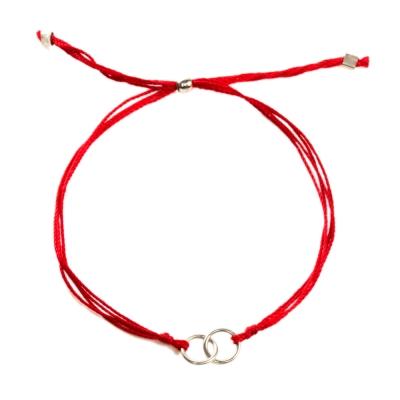 Dogeared Friendship 圓滿如意雙環結心心相印 手鍊 銀墜紅色繩