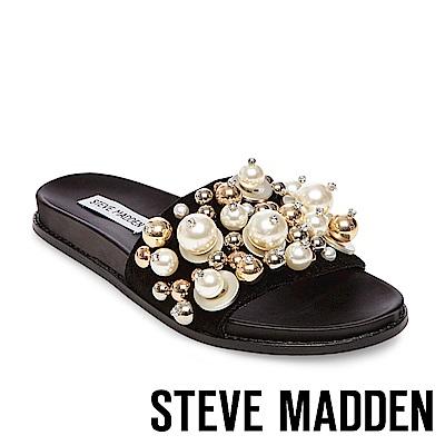 STEVE MADDEN-DELICATE 珍珠鉚釘鑲嵌一字拖-黑色