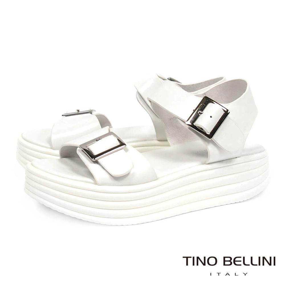 Tino Bellini 個性潮人全真皮輕盈感太空厚底涼鞋_白