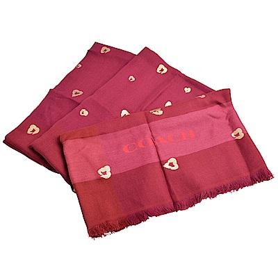 COACH 羊毛格紋漸層金色愛心圖案流蘇寬版披肩式方型圍巾-酒紅