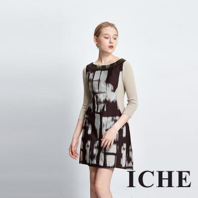 ICHE 衣哲 立體釘珠提花拼接咖啡長袖洋裝