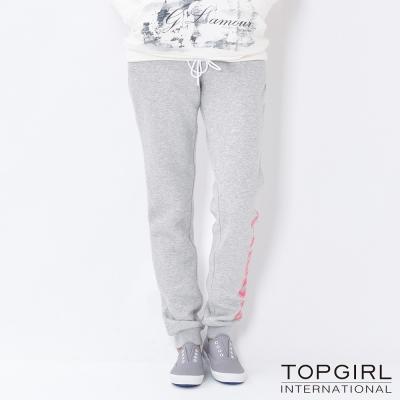 TOP-GIRL-字母印花棉針織休閒褲-淺麻灰