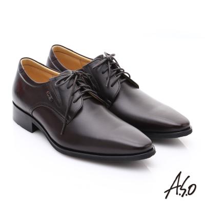 A.S.O超輕雙核心 時尚尖楦真皮奈米皮鞋 咖啡色