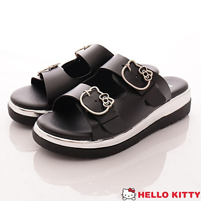 Hello Kitty-皮質休閒拖鞋款-NI17184黑(女段)
