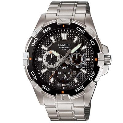 CASIO 潛水風計時轉盤指針三眼運動錶(MTD- 1069 D- 1 A)-黑面銀針/ 47 mm