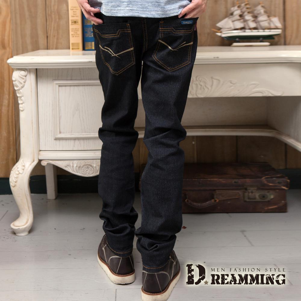 Dreamming 簡約雙線原色伸縮小直筒牛仔褲-黑色