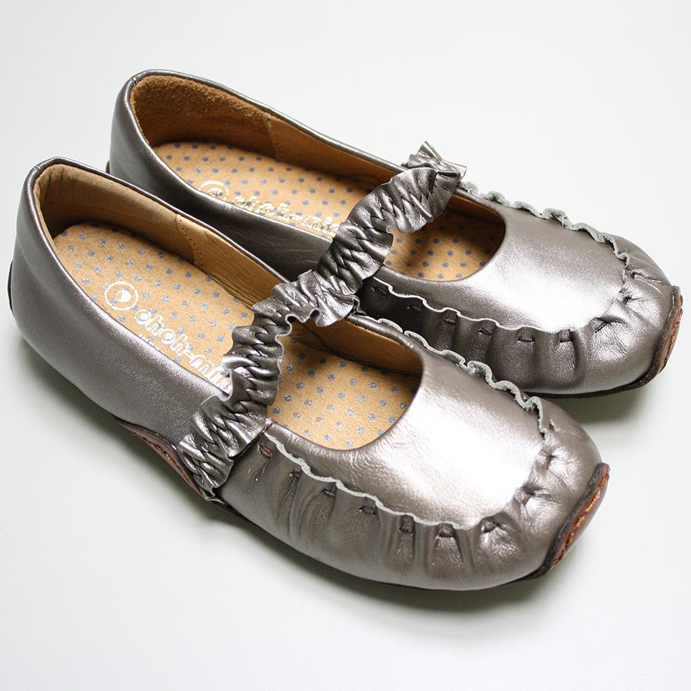 ohoh-mini 孕婦裝   荷葉織帶紓壓真皮氣墊鞋 / 孕婦鞋(灰銀色)