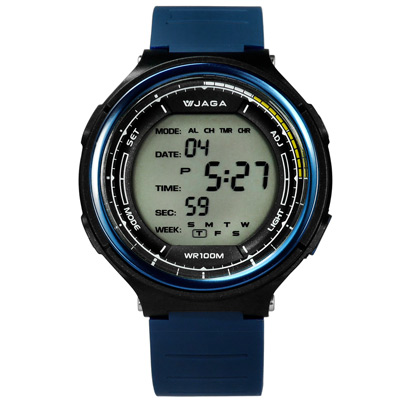 JAGA 捷卡 冷酷電子運動計時鬧鈴防水冷光照明橡膠手錶-黑x藍/47mm