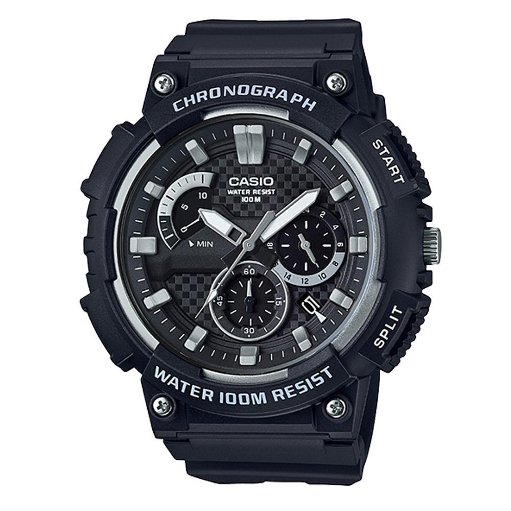 CASIO 逆跳的扇形計時獨立顯示日期運動錶(MCW-200H-1)黑面53.5mm