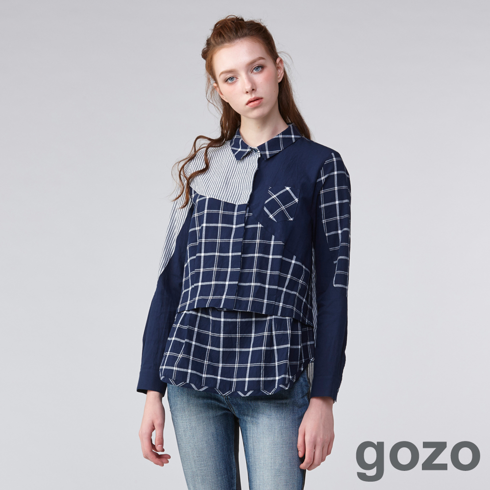 gozo拼接三重奏格紋襯衫(二色)-動態show