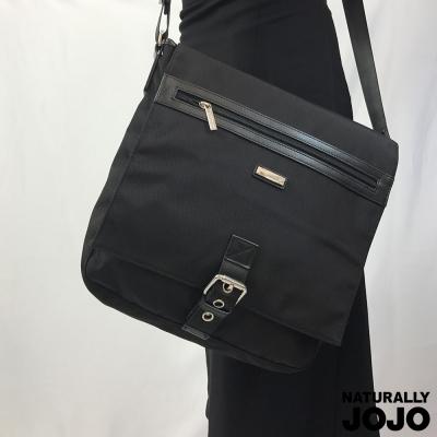 NATURALLY JOJO 中性尼龍商務肩背包(黑)