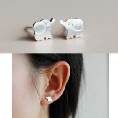 梨花HaN-韓國極簡拉絲925銀大象耳環