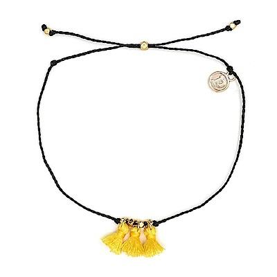 Pura Vida 美國手工 黃色流蘇 黑色臘線可調式防水衝浪腳鍊