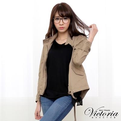 Victoria 棉休閒水洗外套-女-卡其