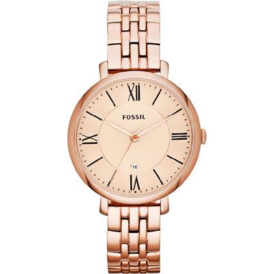 FOSSIL 羅馬仕女腕錶- 玫塊金/36mm