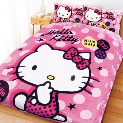 HELLO KITTY 搖滾點子法蘭絨毯寢系列-雙人床包被套組
