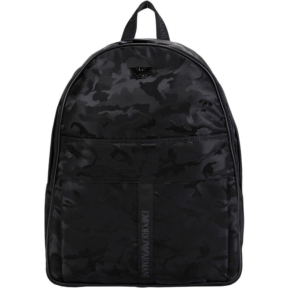 EMPORIO ARMANI 迷彩尼龍後背包(黑色)