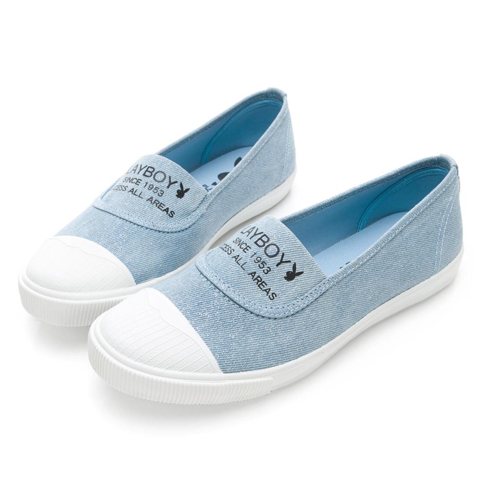 PLAYBOY繽紛彩糖 銀蔥帆布休閒便鞋-水藍