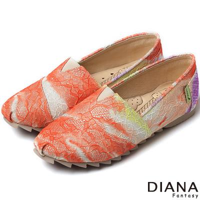 DIANA-超厚切冰淇淋款-漸層法式蕾絲布懶人鞋