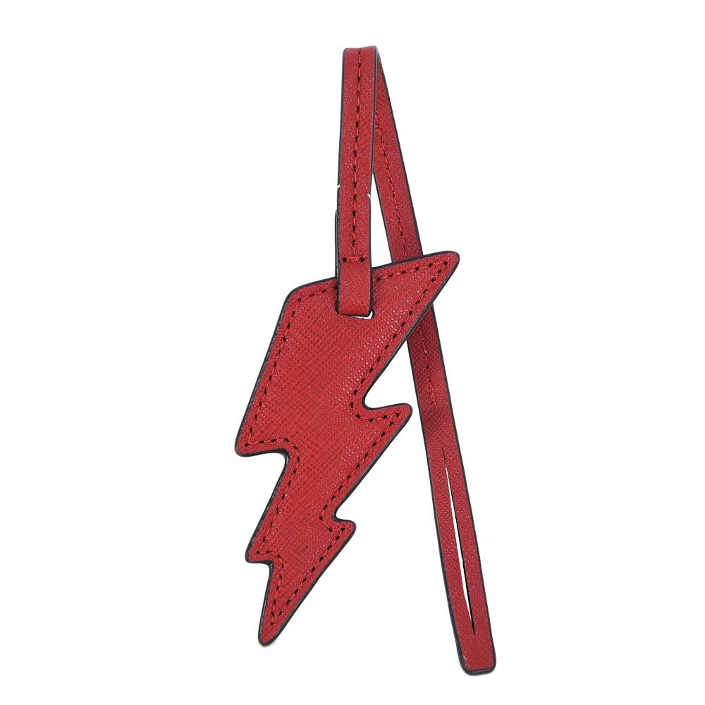 MICHAEL KOES 防刮皮革閃電吊飾(紅)