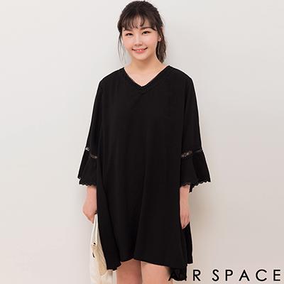 AIR SPACE PLUS 拼接蕾絲荷葉傘襬雪紡洋裝(黑)