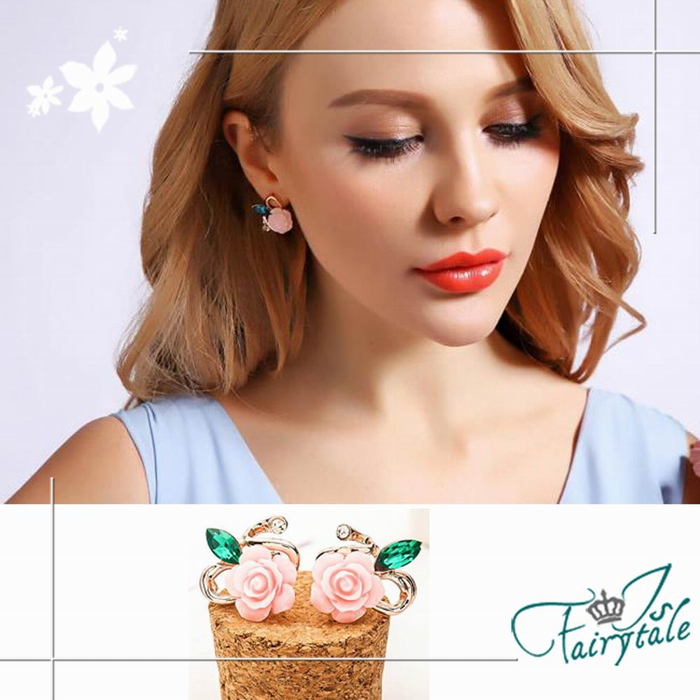 iSFairytale伊飾童話 薔薇風貌 藍水晶樹脂耳環 2色可選