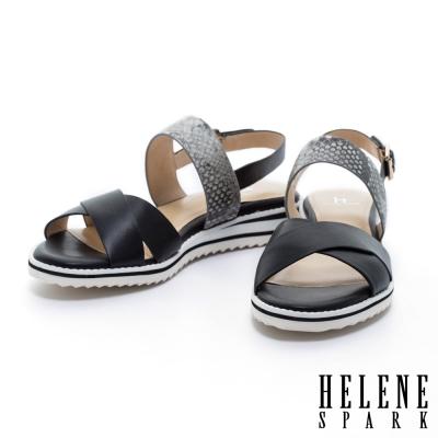 涼鞋-HELENE-SPARK-異材質拼接蛇紋牛皮