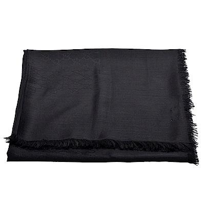 GUCCI 經典GG緹花羊毛混絲方形披肩/圍巾(黑-135X135cm)