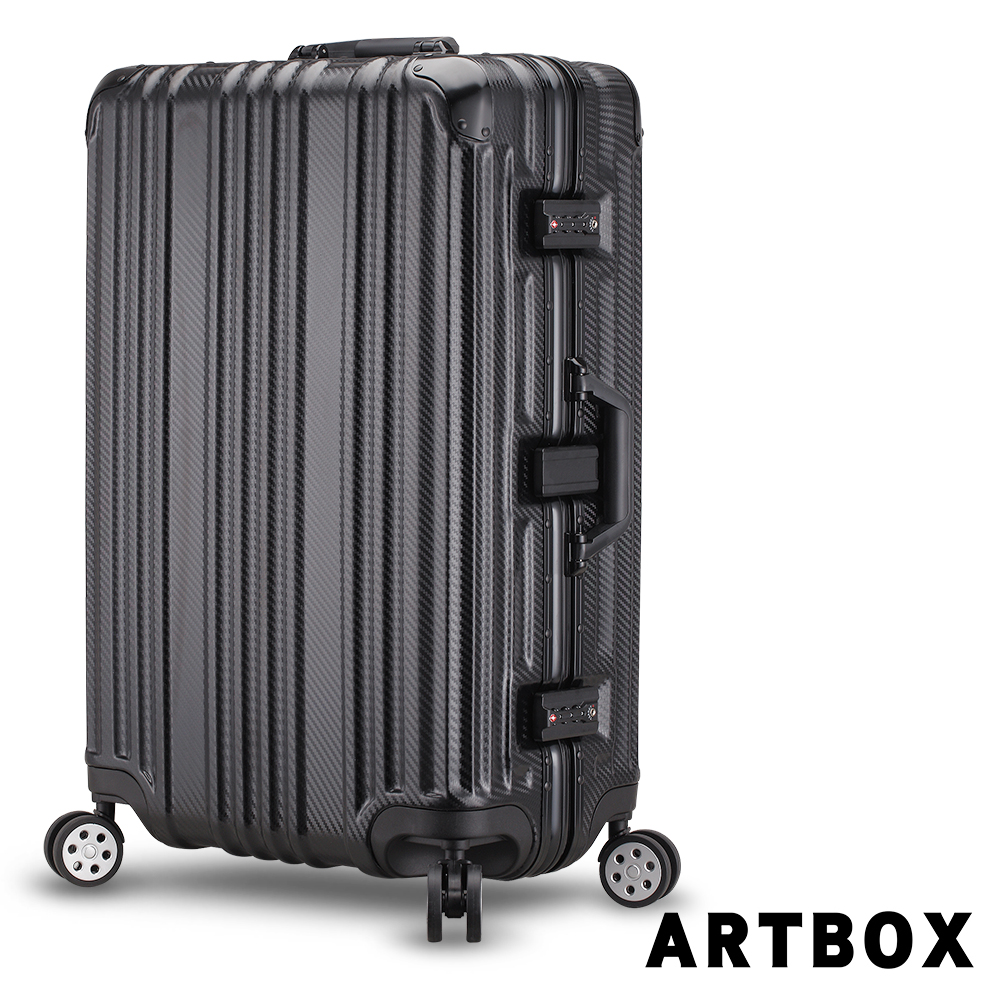 【ARTBOX】鐵城司令 29吋碳纖維紋鋁框行李箱(黑色)