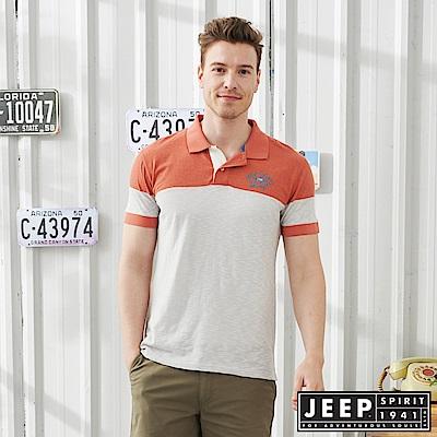 JEEP修身撞色短袖POLO衫-橘灰