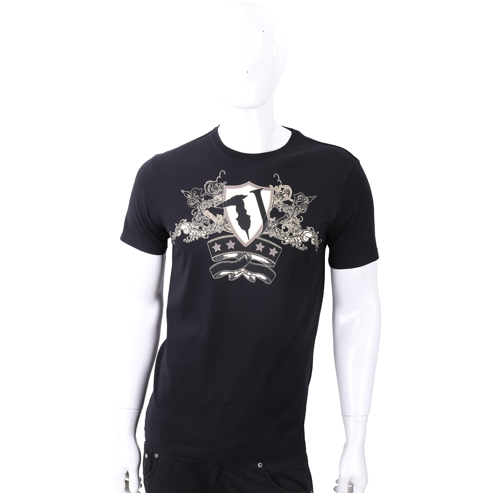 TRUSSARDI T字巴洛克盾牌圖印黑色棉質T恤