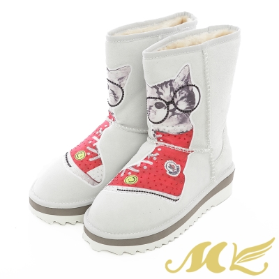 MK-柔暖貓咪印花亮鑽雪靴-淺灰