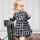 Huxbaby 澳洲 灰黑字母有機棉長袖洋裝