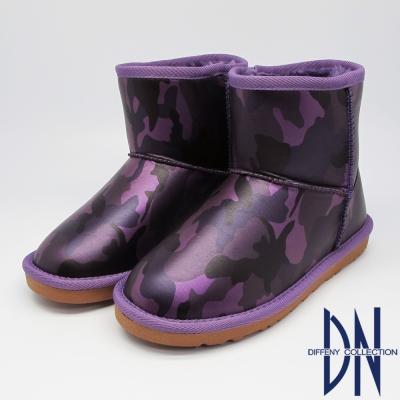 DN 秋冬首選 超Q絨毛迷彩短筒雪靴 紫