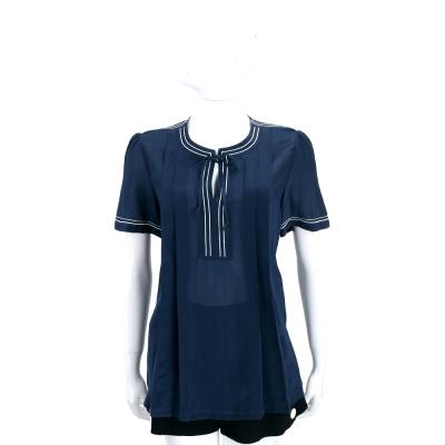 Max Mara-WEEKEND 深藍x白色條紋滾邊短袖上衣