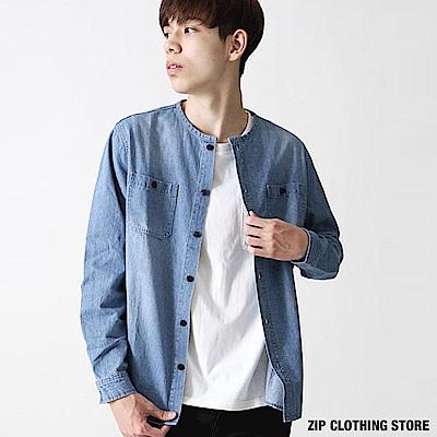 無領丹寧牛仔襯衫(2色) ZIP日本男裝