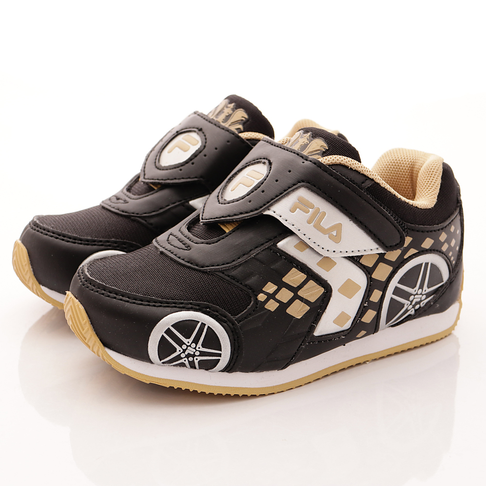 FILA 頂級童鞋款-賽車電燈鞋款-FO55S-088黑金(小童段)HN